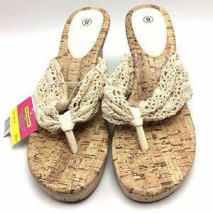 Shoes - Women's cork wedge sandal cream lace